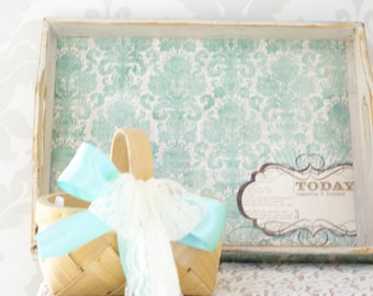 Shabby Chic, Mint Flower Girl Basket, With Wooden Mint Tray, Lace and Ribbon, Rustic, Wedding Decor