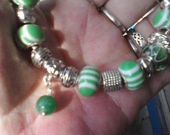 Shades of green and dangles, Euro style bracelet