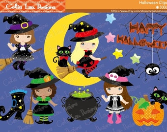 Witch Clipart, Black Cat clipart, Happy Little Witches, Halloween Clipart, Halloween Graphics, Cute Digital Clipart/ Instant Download(CG077)