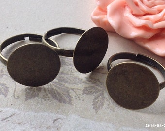 18 mm Antiqued Bronze Adjustable Ring Findings (16 mm pad) (.cg)