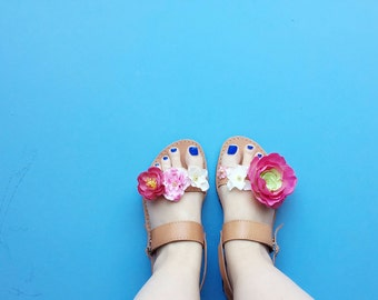 Adult Double Strap Floral Greek Summer Leather Sandals - with Colorful flower Embellishment for wedding / flower girl