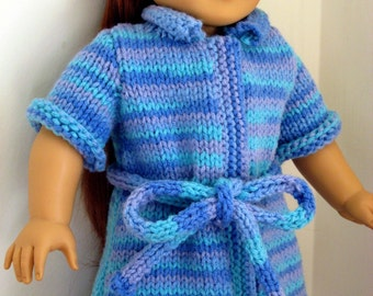 PDF KNITTING PATTERN, Bath Robe for American Girl Doll and 18 inch dolls, Doll Sleepwear, Bathtime, House Coat, Instant Download