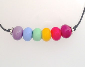 Rainbow Lamp Work Necklace No.2