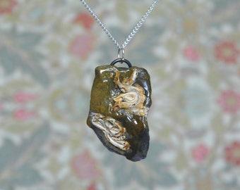 Sea stone pendant, brown and cream necklace, beachcomber jewellery, natural pendant, fantastic shape, quirky stone jewelry, boho pendant