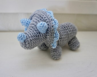 Amigurumi Crochet Stuffed Triceratops, Blue