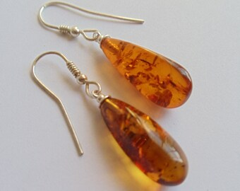 Vintage Baltic Amber Sterling Earrings, Natural Amber Tear Drop Sterling Silver Earrings, Dangle Pierced Earrings, Amber Jewelry, 1980s'
