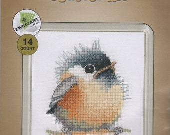 Heritage Crafts - Chickadee - Little Friends Cross Stitch Kit includes plastic coaster