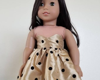 Tan with Black Dots Taffeta Penelope Dress for 18 inch dolls by The Glam Doll- Prom Dress
