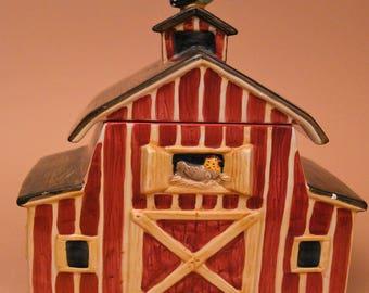 Sakura Country Barn Cookie Jar- Hand Painted by Debbie Mumm