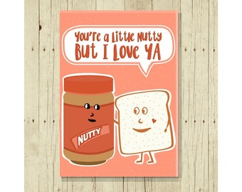 You're A Little Nutty But I Love You Fridge Magnet, Funny, Cute Fridge, Gifts Under 10, Peanut Butter Lover, For Her, For Him, Romantic