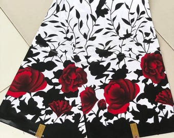White african fabric/African clothing  fabric/African fabric print / sewing supplies/black  floral african print/kitenge fabric/fabric/