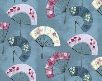 Turquoise Fancy Fans Asian Cotton Michael Miller Fabrics #7066 By the Yard