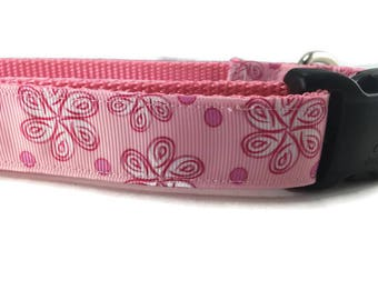 Dog Collar, Flowers and Dots, 1 inch wide, adjustable, quick release, medium, 13-19 inches