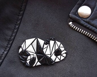 polymer clay Panda brooch, Panda, jewelry, geometric Panda, geometric, accessories, polymer clay, brooch, accessories Panda, Panda brooch