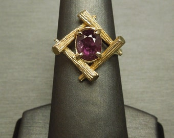 Vintage Oriental Estate C1970 14K Gold 1.25ct Natural Oval Ruby July Birthstone Solitaire Ring Sz 7.5