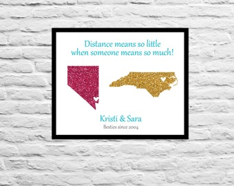 Gift for Best Friend Long Distance Print Family, Friend, Mom, Dad, Sister, Daughter, Best Friend Personalized Art Print Map BFF Farewell