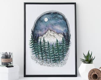 Glimmer - Mountain Art - Pacific Northwest Art - Print - Nature art - Watercolor Print - Free Shipping
