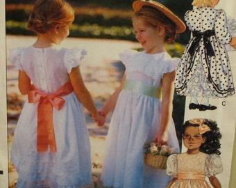 Flower Girl Dress Pattern, Girls Party Dress, Full Skirt, Lace Back, Ruffle/Puff Sleeve Vogue No. 7734, UNCUT Size 1 2 3