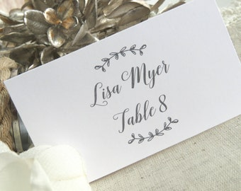 Printed Wedding Place Cards    Printed Name Card   Wedding Escort Card - Set of 50 - Style 21 - Laurel BRANCHES COLLECTION