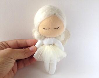 White Sleeping Angel doll, ballerina doll, waldorf doll, rug doll, art doll, miniature doll,  guardian, Christmas decoration, ready to ship