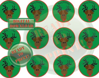 Reindeer Cupcake Toppers Printable Merry Christmas Digital Party Collage Sheet Green & Red Tags Scrapbook Embellishment