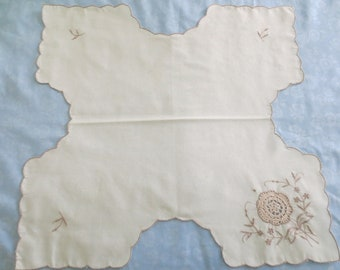 Vintage Embroidered Bread Cloth Roll Cover Ecru with Taupe Floral Embroidery