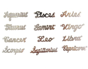 Rhodium Plated Astrological Name Plate Pendants - All 12 Signs - (12X) (A604-B)