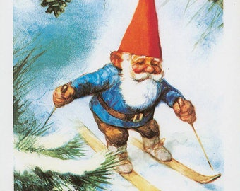 Vintage art print 80s. David the gnome in the winter on skis. By Rien Poortvliet.