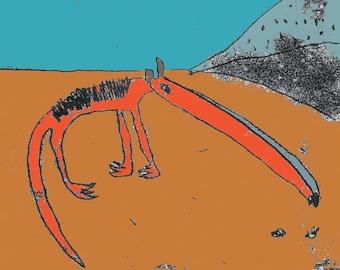Anteater print, anteater art, desert art, anteater drawing, nursery decor, wild animal theme, print for animal lover, long nosed animal