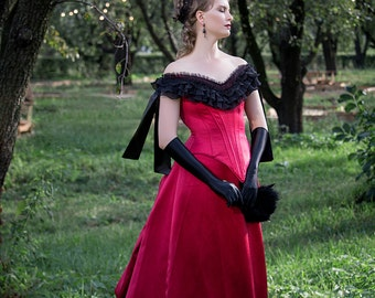 Berry Red Victorian Gown, Victorian Halloween Dress, 1880s Costume