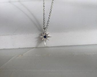 Polaris necklace, silver star necklace, North star silver necklace, Star and sapphire necklace