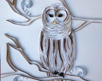 Handmade Quilled Paper Owl Art