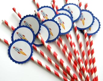12 Rocket Party Straws, Outerspace Birthday, Rocket Theme, First Birthday, Love You To the Moon and Back, Outerspace Party