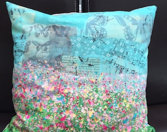 Splatter flower cushion