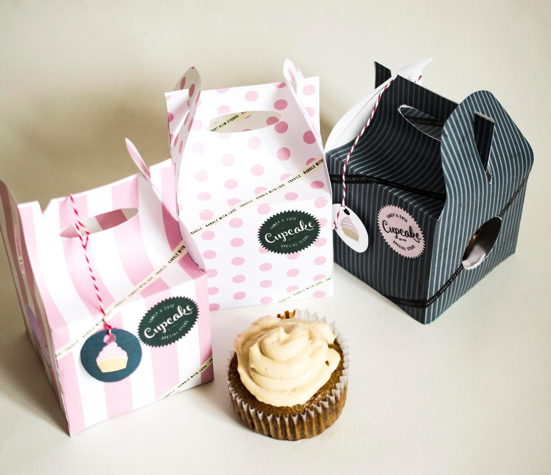 Printable cupcake box set striped box vintage parisian