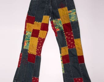 Vintage United Colors of Benetton Patchwork Cropped print Kick Flare Jeans XS