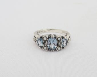 Vintage Sterling Silver Aquamarine & Seed Pearl Ring Size 8