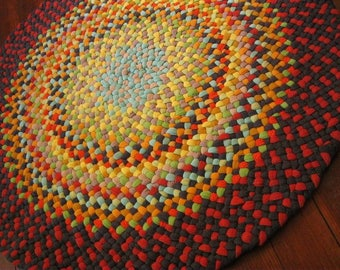Made To Order Handmade Round Braided Rug -your color choices