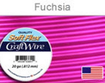 20 Gauge Fuchsia Silver Plated Wire, Soft Flex, Tarnish Resistant,  Round, Supplies, Findings, Craft Wire