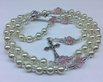 White Pearl and Pink Crystal Rosary, Girl's Communion Rosary, Girl's Baptism Rosary, Girl's Confirmation Rosary, Glass Pearls