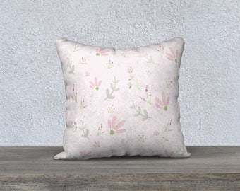 Floral Cushion Cover - Velveteen, Floral pattern, Flowers and ferns, Pink, Mint green, White,  Decorative Cushion, Greenery, Girl room, Baby