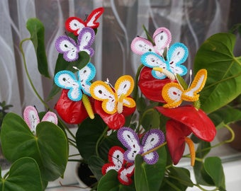 Crochet  butterfly Knitted  butterfly Set 10 pcs  Butterfly applique  Scrapbooking butterfly Decorate  butterfly Cloth accessory