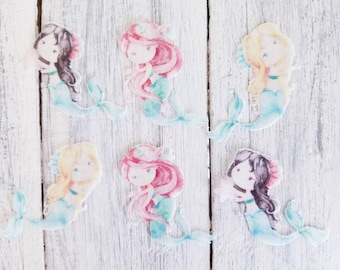 Under The Sea - Little Mermaid Watercolour Wafer Rice Paper. Cupcake, cookie, cake and more toppers