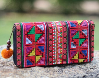 Cross Stitch Embroidered Colorful Women's Wallet    Hmong Wallet    Ethnic wallet  Long wallet   Bohemian Wallet   Purse   Clutch Purse