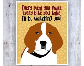 Beagle Art Print, Dog Poster, Dog Print, Beagle Picture, Dog Decor, Pet Art, Beagle Poster, Funny Dog, Funny Saying