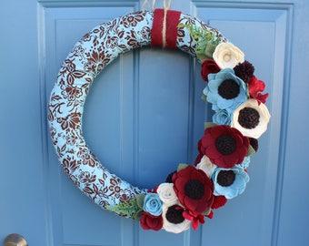 18 inch Felt Flower Wreath, Year Round Wreath, Felt Flower Year Round Wreath
