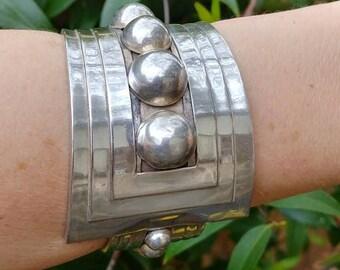 J Gomez TAXCO Mexico Sterling Silver Cuff Bracelet