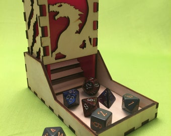 Dragon style, Deluxe dice tower, laser cut and unique, for role playing and tabletop gaming