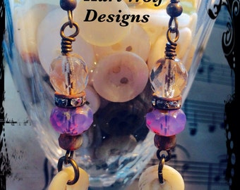 Amethyst, toned, Earrings, Smokey, Picasso beads, w/ Vintage, Mother Of Pearl  buttons, and Vintage  Rhinestones. By: Kari Wolf Designs