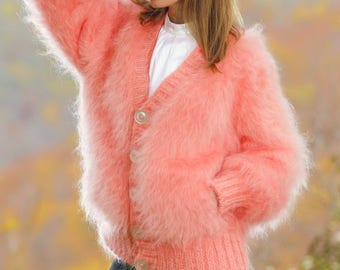 Pink V neck mohair cardigan, super fuzzy sweater jacket by SuperTanya